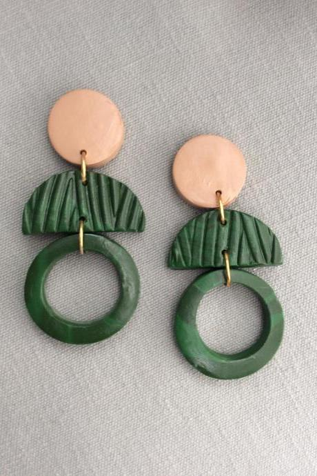 Gemma Circle in Green and Beige Polymer Clay Earrings | Polymer Clay Statement Earrings