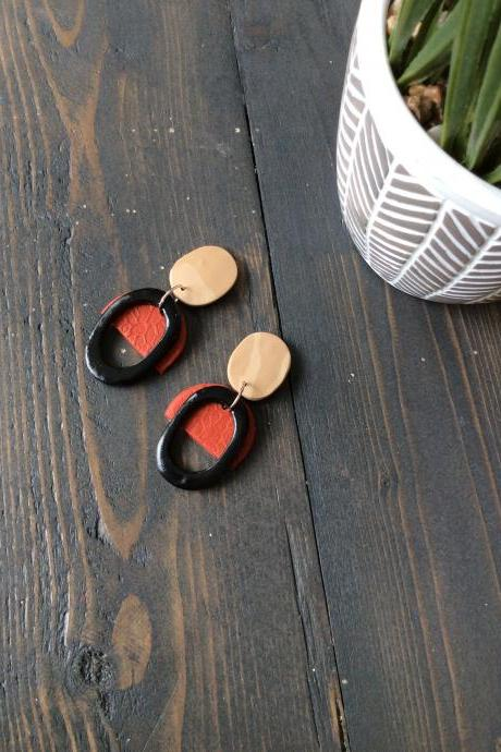 Fayola Oval in Beige, Red, and Black Polymer Clay Earrings | Simple Minimalist Polymer Clay Drop Earrings