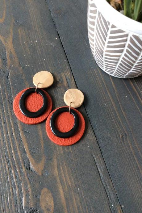 Fayola Circle in Red, Beige, and Black Polymer Clay Earrings | Polymer Clay Drop Earrings