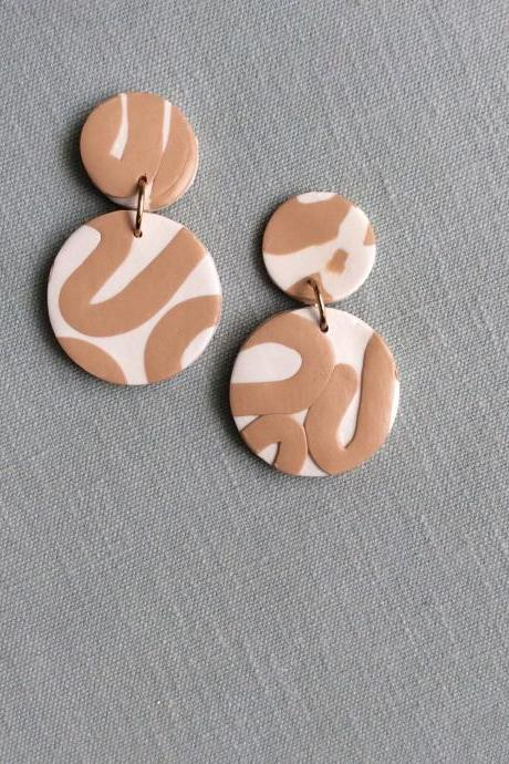 Bri in Beige and Cream Polymer Clay Earrings | Contemporary Unique Polymer Clay Drop Earrings