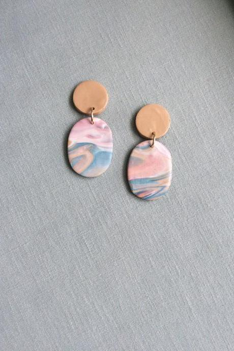 Binta in Teal, Mauve, Beige, and Cream Polymer Clay Earrings | Modern Contemporary Polymer Clay Drop Earrings