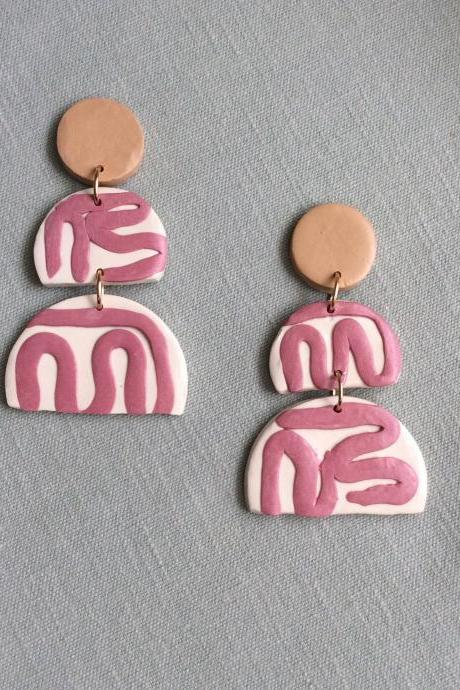 Aurelia in Beige, Mauve, and Cream Polymer Clay Statement Earrings | Unique Contemporary Polymer Clay Dangle Earrings