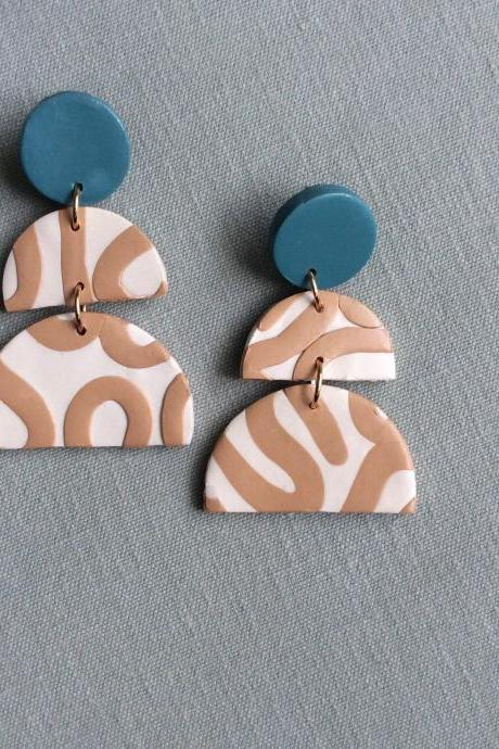 Aurelia in Beige, Cream, and Teal Polymer Clay Statement Earrings | Contemporary Polymer Clay Drop Earrings