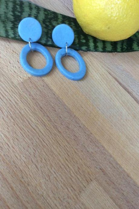Stormy in Blue and Translucent Polymer Clay Earrings | Cute Blue Minimalist Polymer Clay Drop Earrings