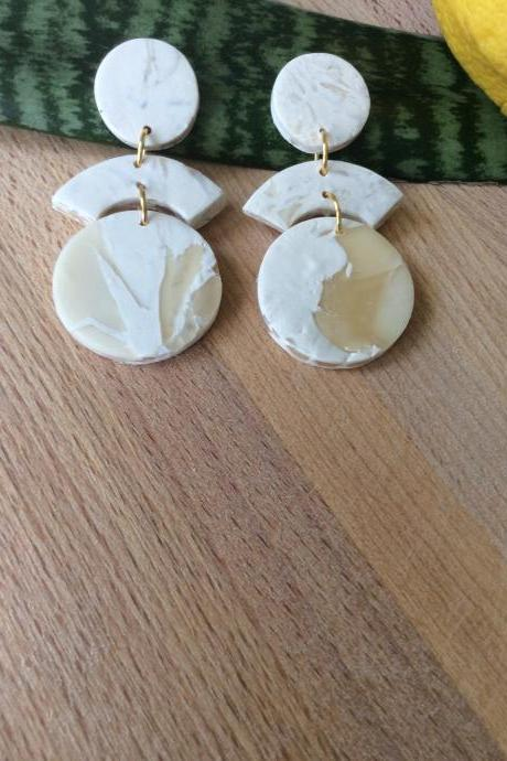 Stormy Tiered in White and Translucent Polymer Clay Statement Earrings | Unique Minimalist Polymer Clay Earrings