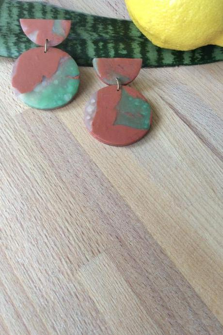 Stormy Half Circle in Brown, Green, and Translucent Polymer Clay Drop Earrings | Simple Cute Polymer Clay Earrings
