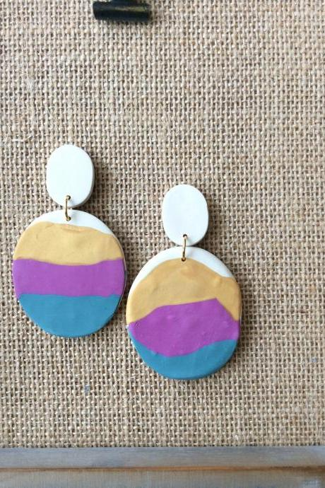 Kara in Gold, Fuchsia, and Teal Polymer Clay Drop Earrings | Modern Contemporary Polymer Clay Statement Earrings