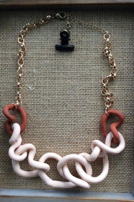Cindy - Beige and Terra Cotta Polymer Clay Necklace