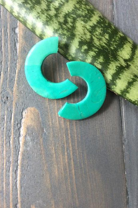 Aileah - Green and Translucent Polymer Clay Earrings Studs | Polymer Clay Statement Earrings