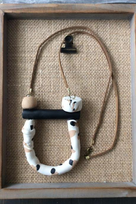 Anika - Beige, Black and Cream Polymer Clay Statement Necklace