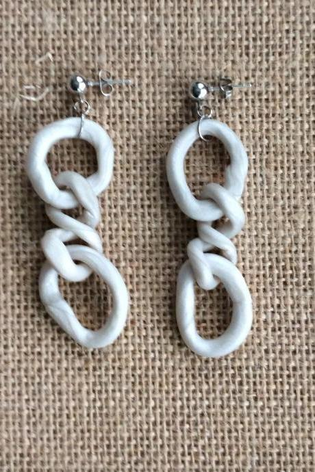 Chanel in Pearl White Polymer Clay Dangle Earrings | Unique and Modern Polymer Clay Statement Earrings