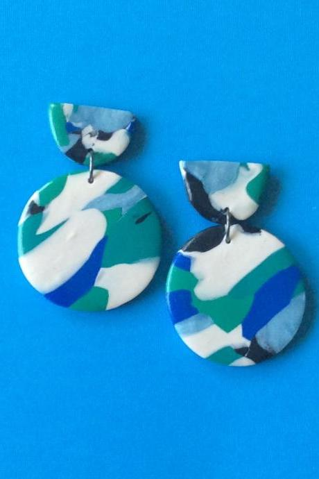 Abstract Circle in Shades of Blue Polymer Clay Statement Earrings | Unique Contemporary Polymer Clay Drop Earrings