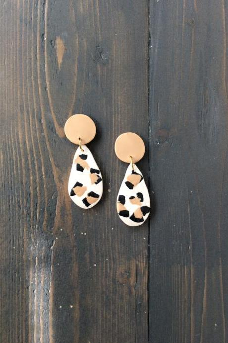 Teardrop Cheetah Polymer Clay Statement Earrings | Modern Contemporary Polymer Clay Drop Earrings