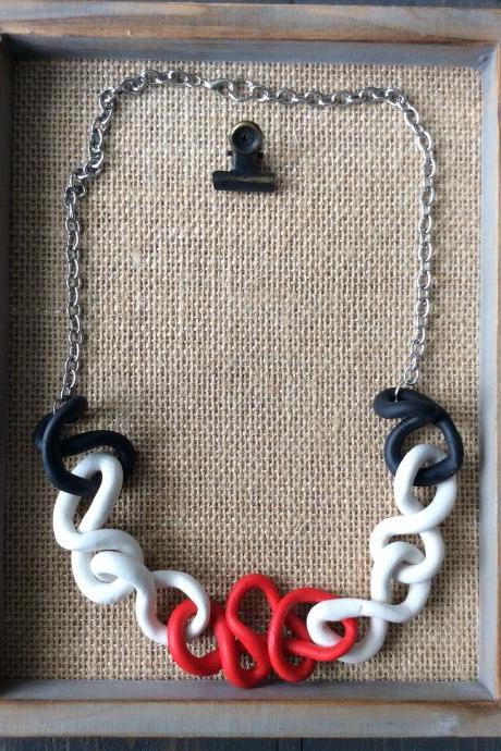 Princess - Red, Black, and white Polymer Clay Necklace |Polymer Clay Statement Necklace