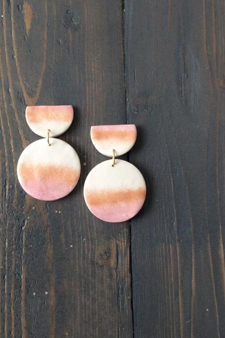 Sunshine - Gold and Pink Polymer Clay Drop Earrings | Unique Minimalist Polymer Clay Earrings