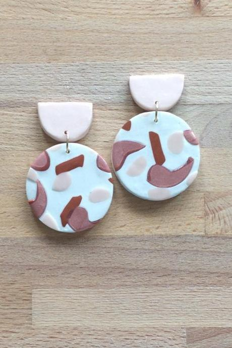 Brushed Circle Polymer Clay Drop Earrings | Unique Contemporary Polymer Clay Statement Earrings