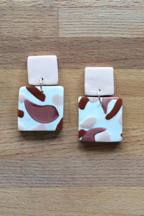 Brushed Square Polymer Clay Drop Earrings | Unique Contemporary Polymer Clay Statement Earrings