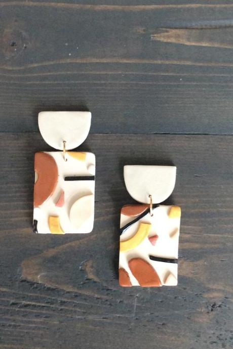 Desert Rectangle Polymer Clay Drop Earrings | Modern Contemporary Polymer Clay Statement Earrings