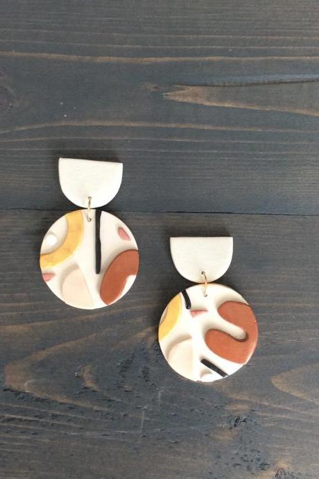 Desert Circle Polymer Clay Earrings | Cute Contemporary Polymer Clay Drop Earrings