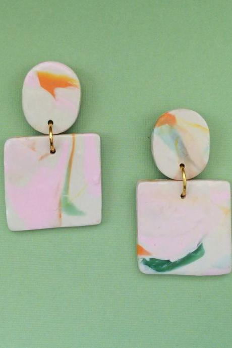 Abstract Square Polymer Clay Earrings | Unique Polymer Clay Statement Earrings