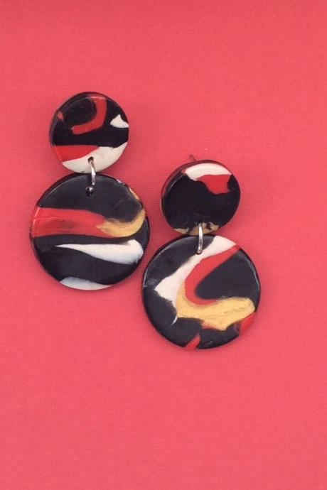 Abstract Circle Polymer Clay Drop Earrings | Unique Polymer Clay Statement Earrings