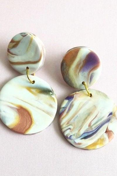 Abstract Circle Polymer Clay Drop Earrings | Unique Contemporary Polymer Clay Statement Earrings