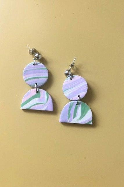 Abstract Multicolor Half Circle Polymer Clay Statement Earrings | Unique Contemporary Polymer Clay Drop Earrings