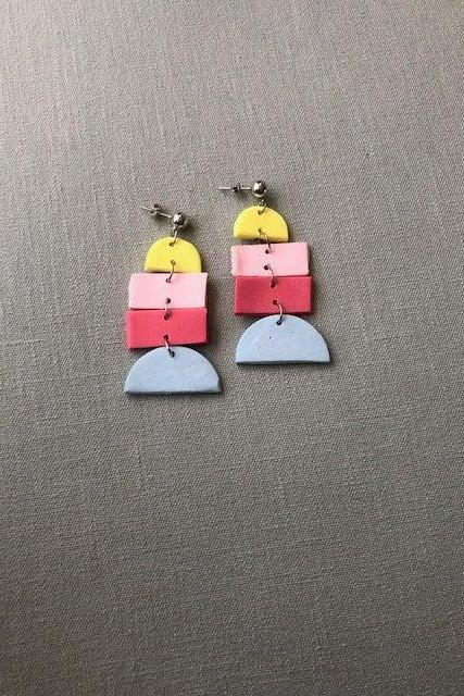 Color Block Rectangle Polymer Clay Earrings | Unique Polymer Clay Statement Earrings