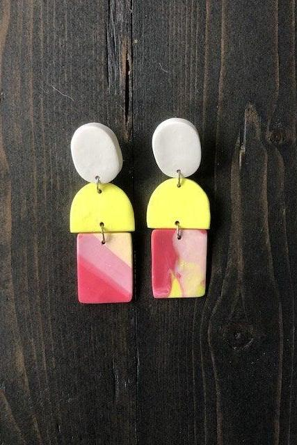 Color Block Abstract Rectangle Polymer Clay Earrings | Contemporary Polymer Clay Statement Earrings