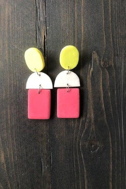Color Block Rectangle Polymer Clay Earrings | Cute Modern Polymer Clay Drop Earrings