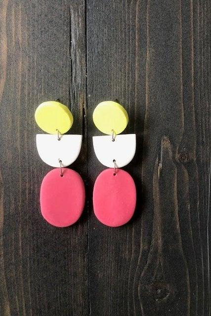 Color Block Oval Polymer Clay Earrings | Simple Unique Polymer Clay Statement Earrings