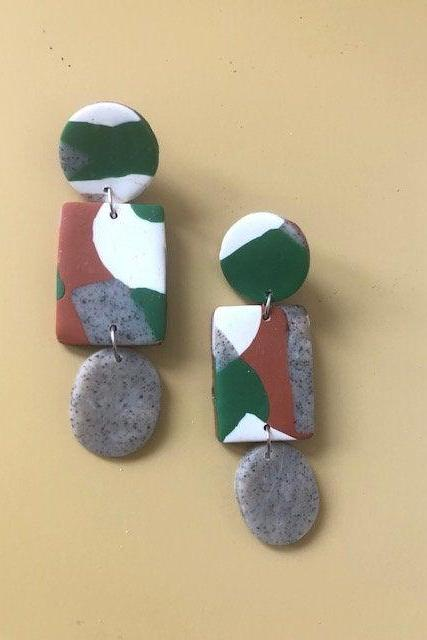 Terrazzo Print with Stone Polymer Clay Statement Earrings | Unique Contemporary Polymer Clay Dangle Earrings