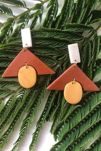 Stacked geometric Polymer Clay Drop Earrings | Cute Polymer Clay Dangle Earrings