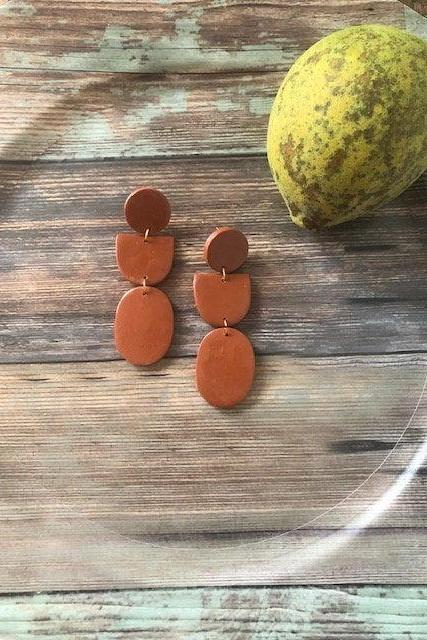 Terra Cotta Oval Polymer Clay Statement Earrings | Simple Modern Polymer Clay Dangle Earrings